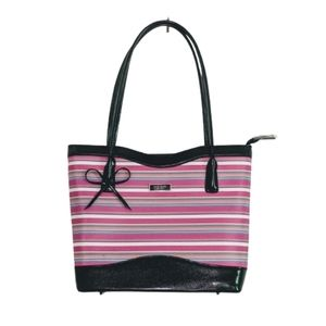 Kate Spade pink and black striped purse